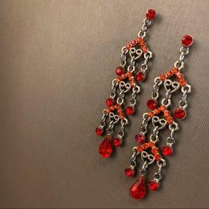 Jewelry - Boho Grenadier Red Rhinestone Dangle Earrings